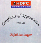 Certificate of Appreciation By HDFC